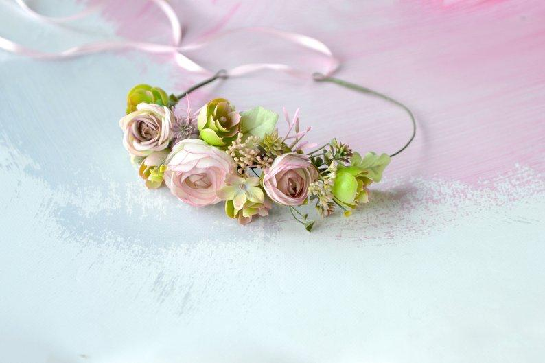 Mariage - Succulent flower crown Blush pink succulent crown Wedding woodland headband Succulents headpiece Bride crown Photo Prop