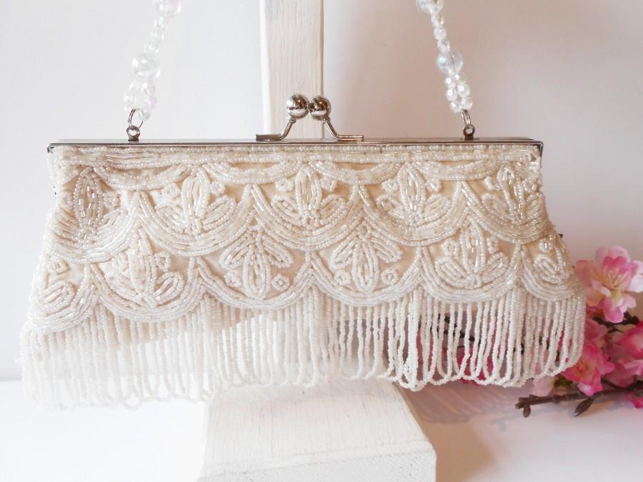 زفاف - Vintage White Beaded Evening Bag, Glamorous Beaded Clutch Handbag EB-0231