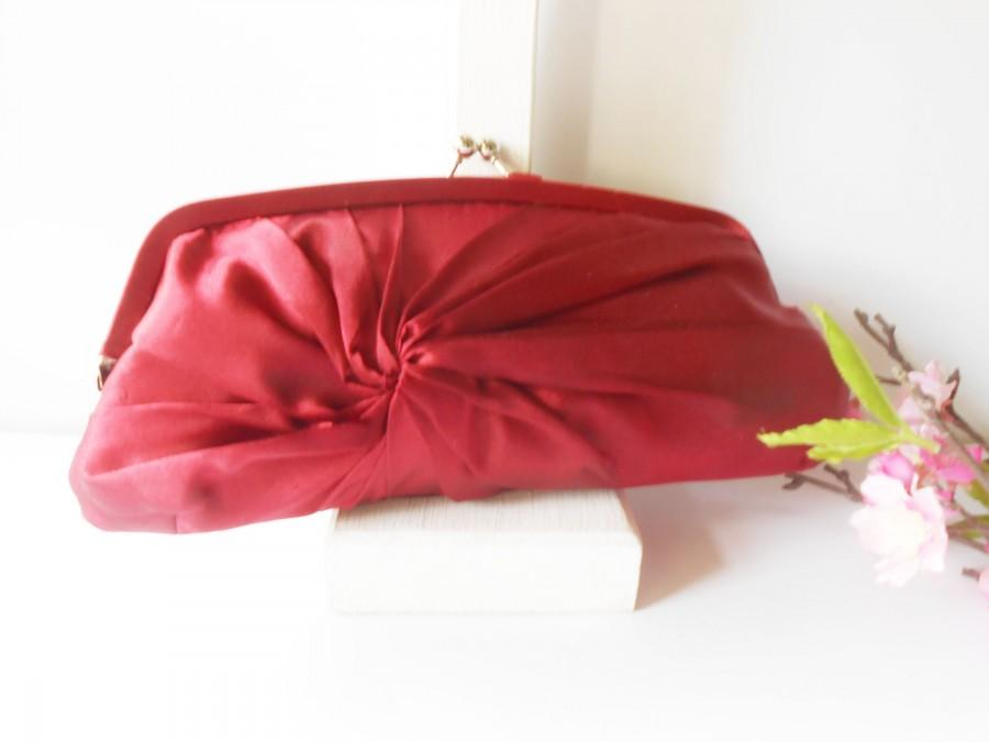 Mariage - Vintage Red Taffeta Evening Bag, Red Clutch Bag with Short Handle EB-0280
