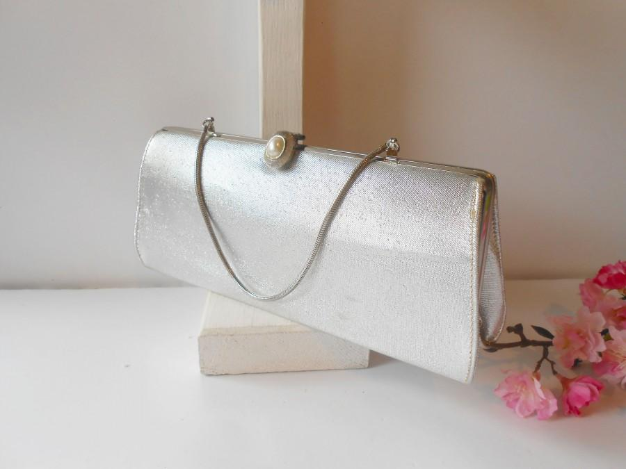 Mariage - Vintage Silver Evening Bag, Metallic Clutch Handbag, Glamorous Purse EB-0346
