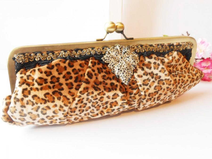 زفاف - Vintage 80's Stunning Leopard Evening Bag, Glamorous Beaded Clutch Handbag EB-0222