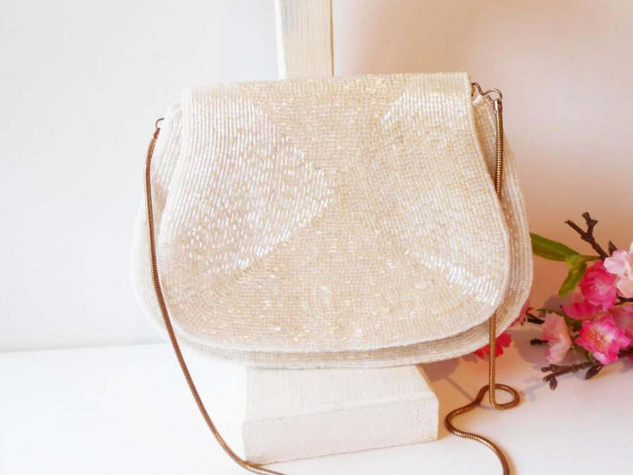 Mariage - Vintage White Evening Bag, Wedding Purse Stunning White Bead Bag EB-0152