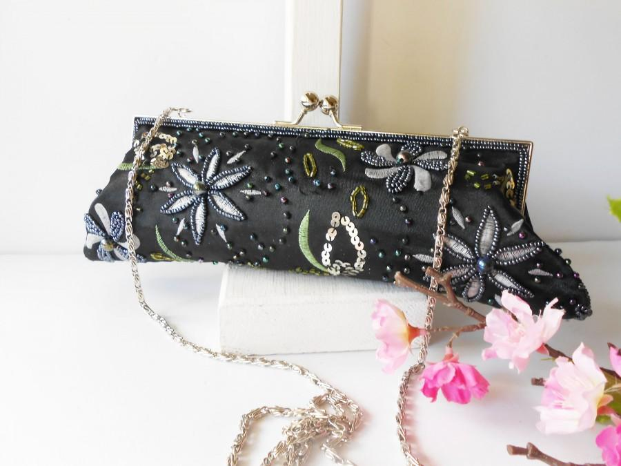 Mariage - Vintage Evening Bag Beaded Embroidered, Sparkly Black Beaded Clutch Bag EB-