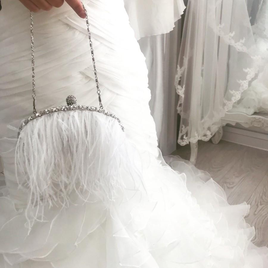 Mariage - NEW 2019 giselle feather Ivory Crystal Vintage Bridal Purse - Bridal Clutch Bag, Vintage Wedding Handbag, Bridal Handbag, Crystal Handbag