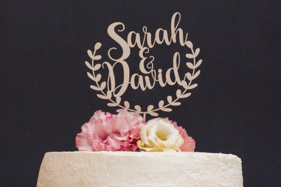 Hochzeit - Wreath Wedding Cake Topper, Personalized Wedding Cake Topper, Cake Decor, Wood Cake Topper, Wedding Decoration, Engagement Cake Topper