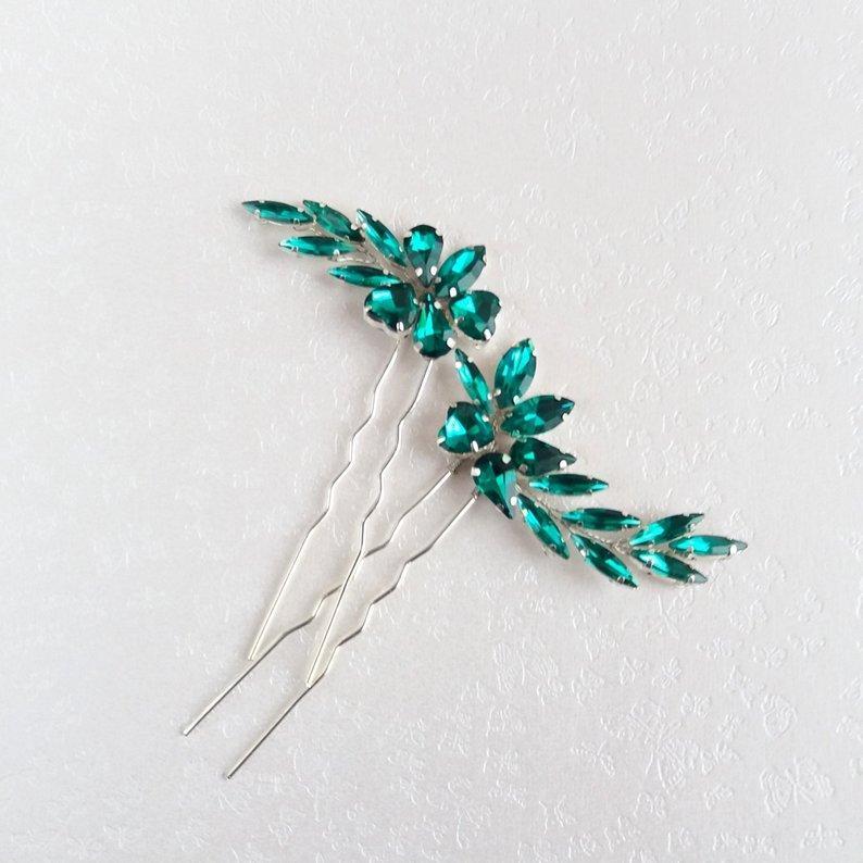 Wedding - Emerald green hair pin Bridal hair piece Crystal rhinestone bobby pin Bridal hairpiece bridesmaid hair pins