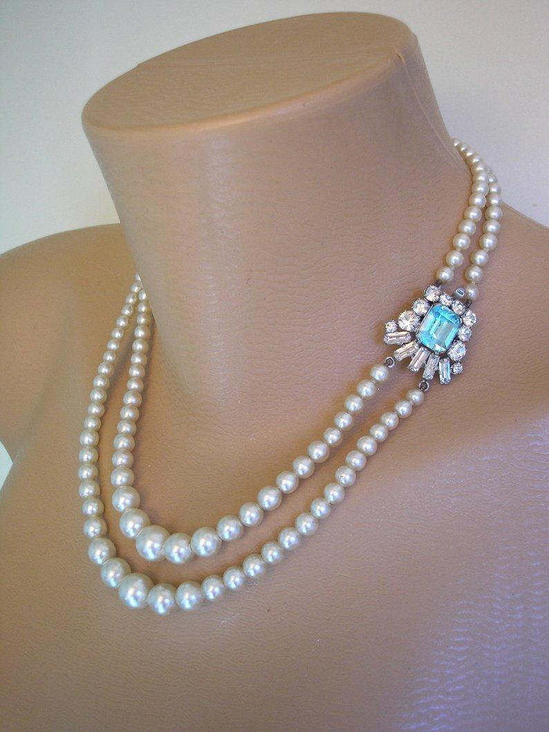 Mariage - Pearl And Aquamarine Rhinestone Necklace, Blue Topaz Rhinestone Choker, 2 Strand Ivory Pearls, Vintage Pearls, Bridal Pearls, Art Deco Style