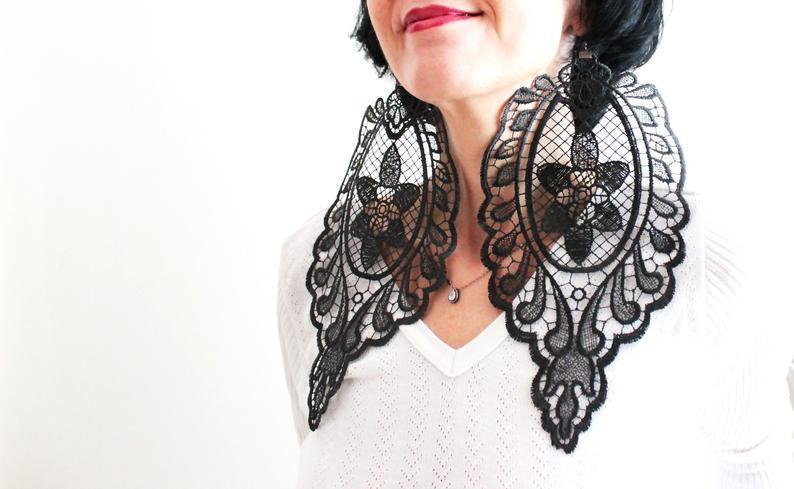 Mariage - Oversized Lace Earrings Unique Gifts Handmade Black Lace Earrings Boho Gothic Steampunk Earring Statement Earrings Mom Gift For Her