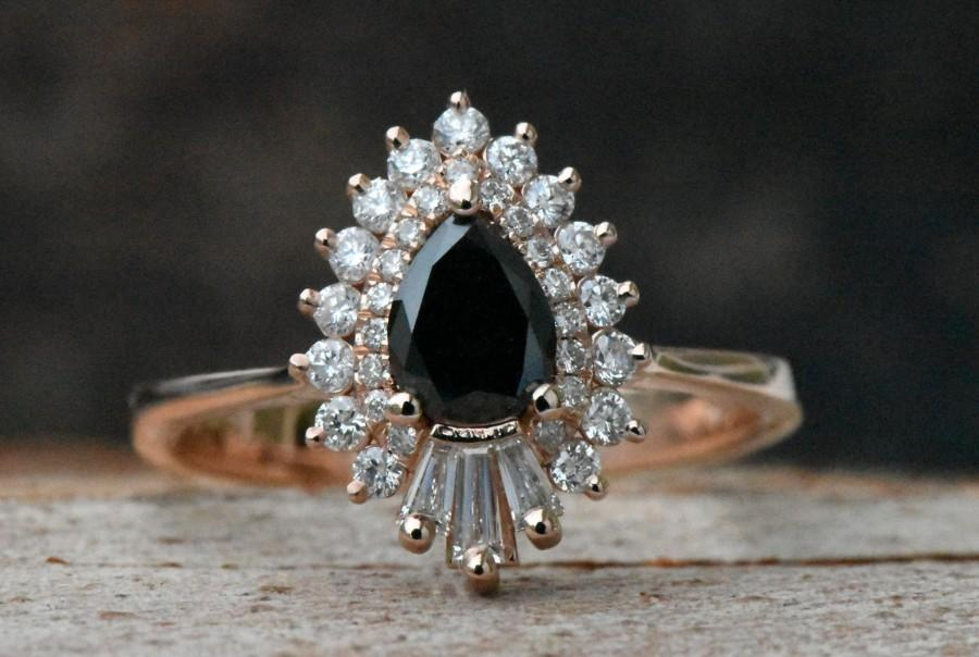 Rose Gold Engagement Ring Diamond Vintage Ring Promise Ring Pear Shaped Diamond Engagement Ring Art Deco Ring Black Diamond Ring For Her 2913861 Weddbook