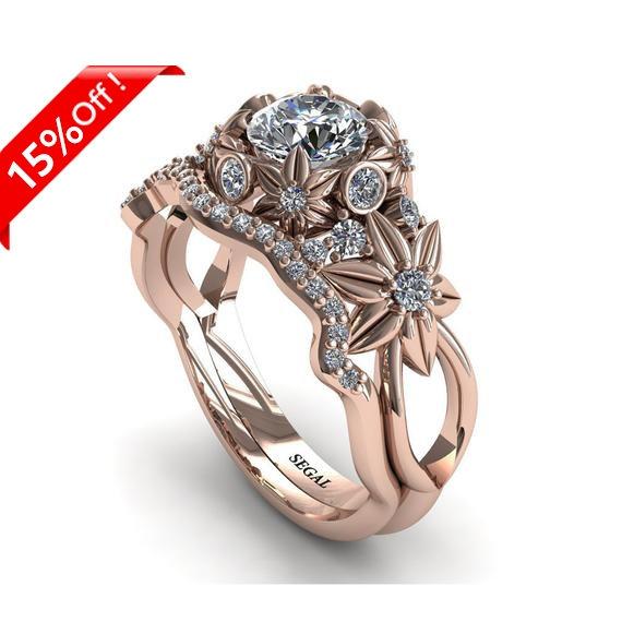 Mariage - Bridal Set Rose Gold Engagement Ring Wedding Band Set Set Nature Inspired Bridal Set Flower Rose gold Ring Nature inspired - Katherine