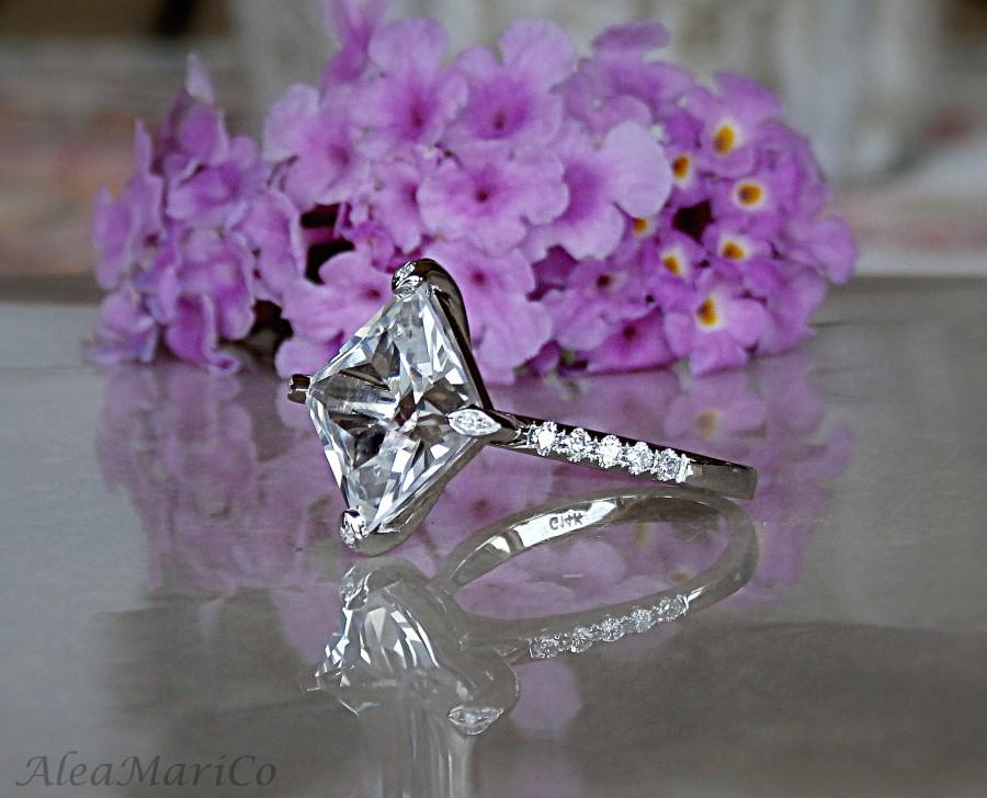 Свадьба - Sapphire Ring, 14kt White Sapphire Engagement Ring, Sapphire and Diamond Ring, 14kt, IN STOCK