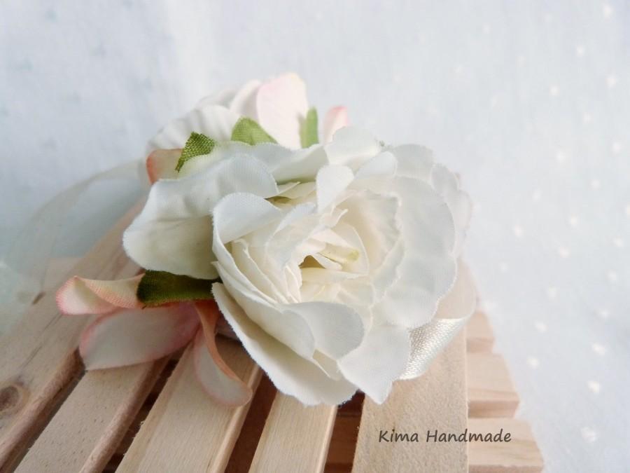 Mariage - Pulsera flores novia,pulsera flores damas honor,pulsera flores tela blancas,pulsera niña comunión,pulsera flores hecha a mano,pulsera fiesta