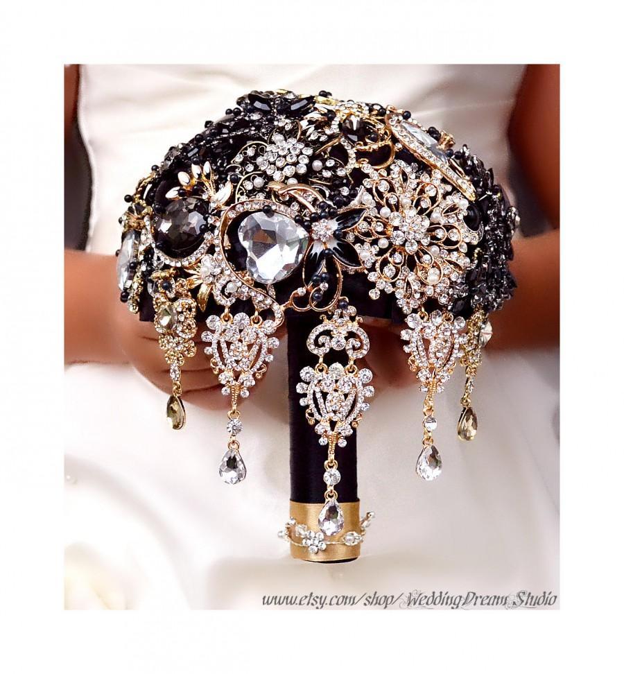 Mariage - Black Bouquet Jewelry Wedding Bouquet Brooch Bouquet Bridal Bouquet Crystal Bouquet Gold Bouquet Black Brides Accessories Bridesmaids Gifts