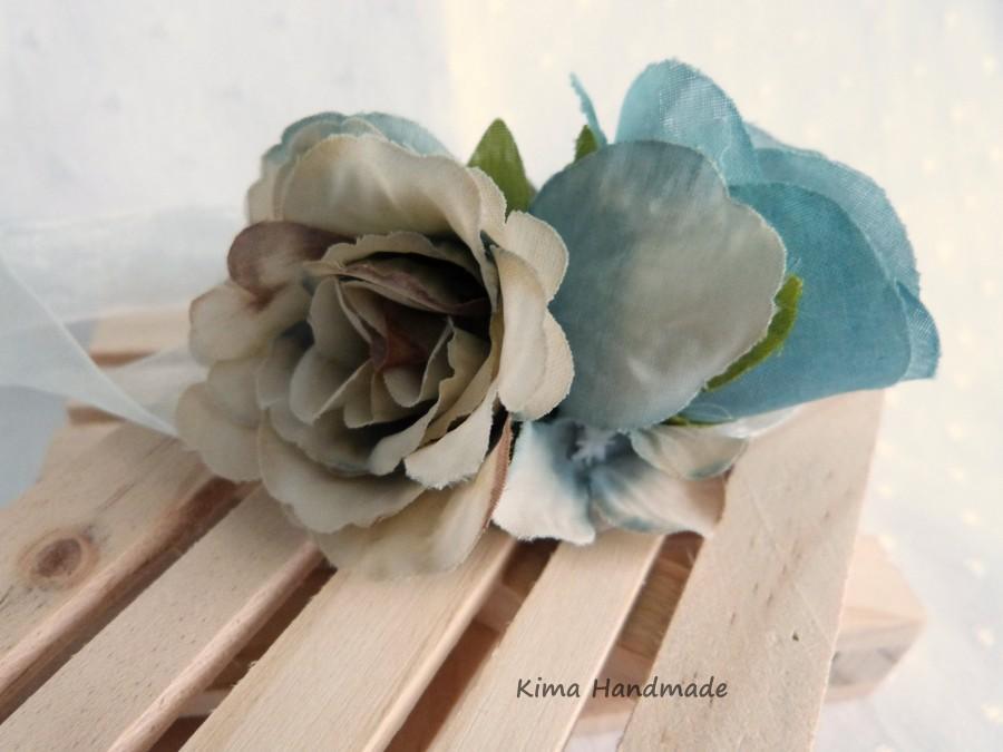 Mariage - Pulsera flores azules, pulsera flores novia, pulsera adams de honor, pulsera nupcial, pulsera comunión, pulsera flores hecha a mano azul