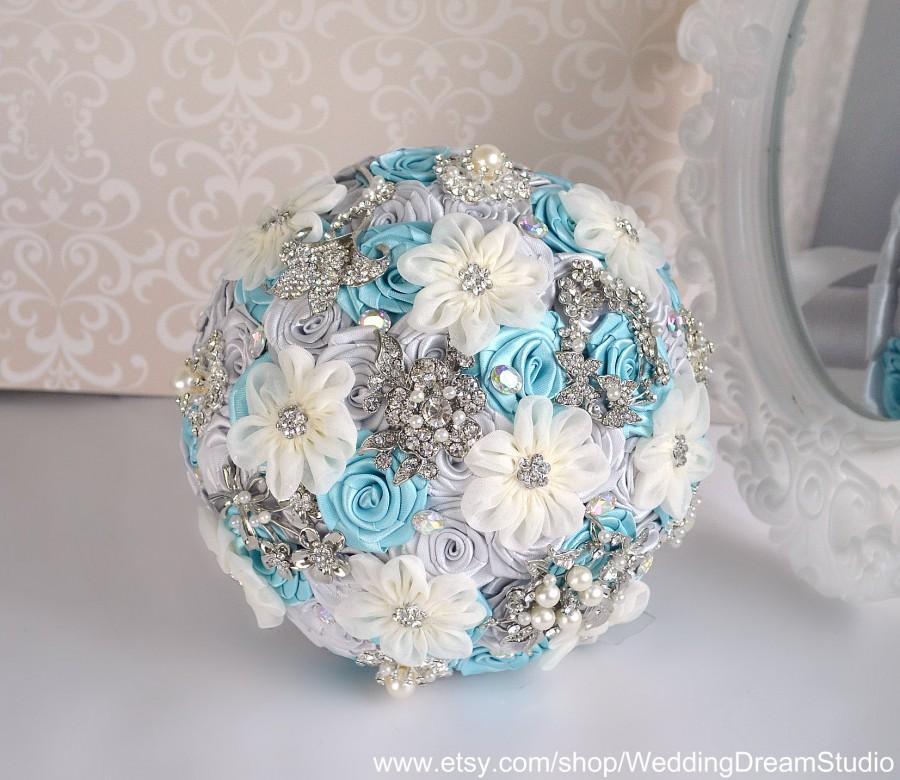 Mariage - Light Blue Roses Brooch Bouquet Silk Flowers Wedding Bouquet Silver Bridal Bouquet Crystal Jewelry Bouquet Keepsake Bouquet Gray Bouquet