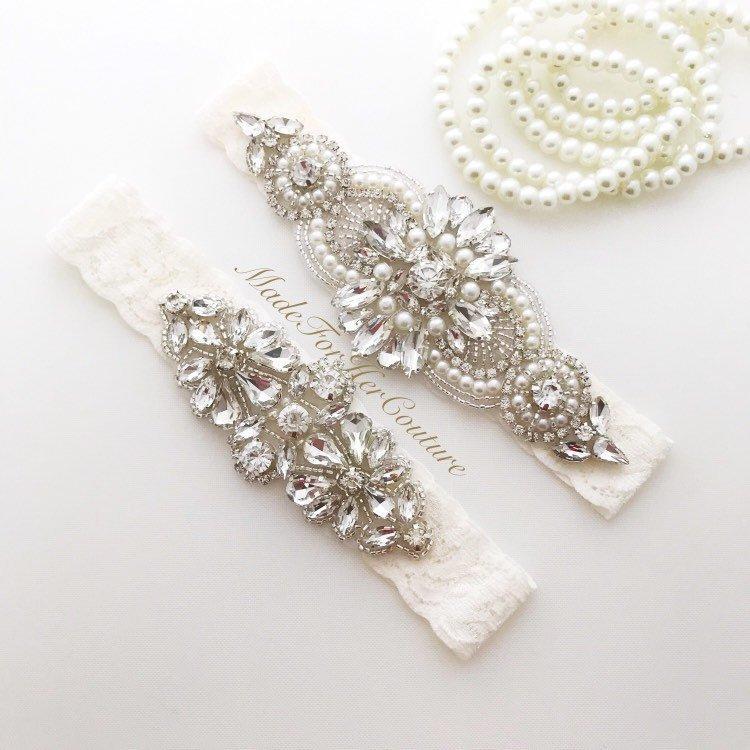 زفاف - wedding garter, garters for wedding, garter set, garters, ivory garter set, bridal garter, wedding garters ivory, crystal garter set