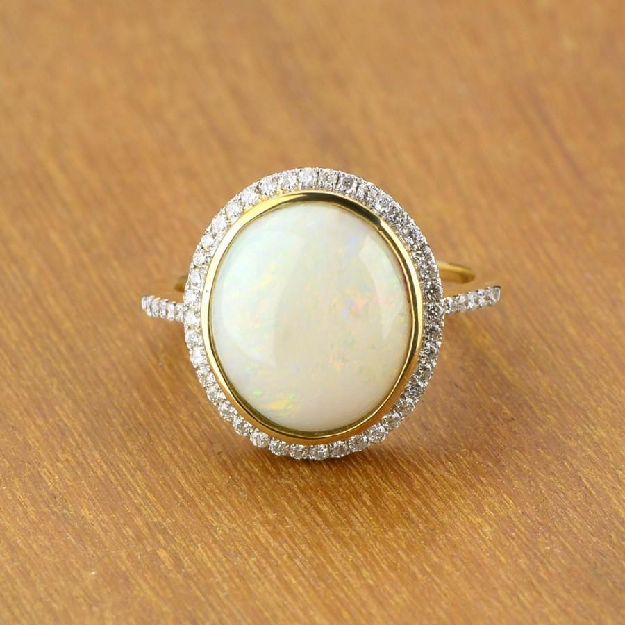 Mariage - White Opal & Diamond Engagement Ring 14K Gold SKU: R1864B002-8x6