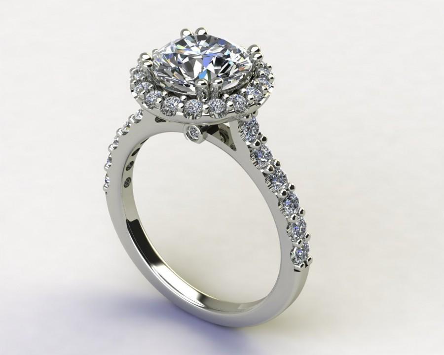 Mariage - Vintage 2 Carat Round Moissanite 14K White Halo Engagement Ring