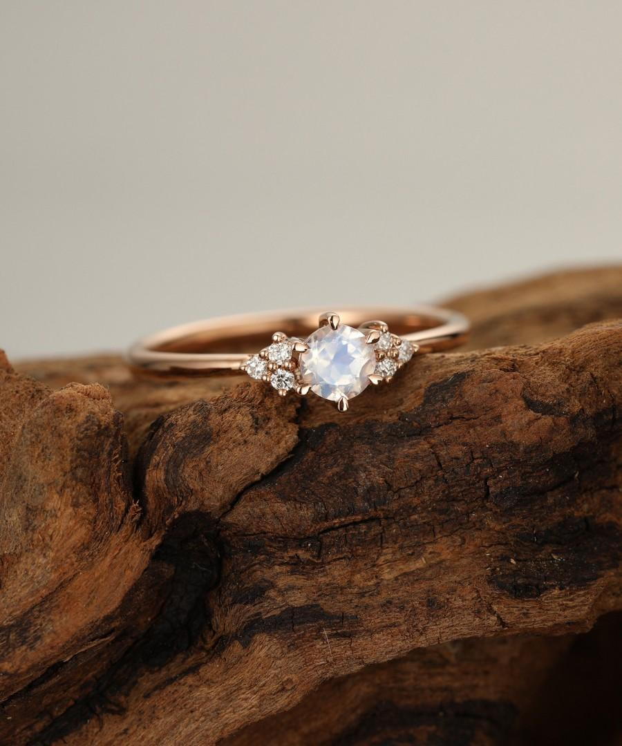 Свадьба - Moonstone engagement ring rose gold Diamond cluster engagement ring Unique Simple Thin dainty wedding ring Bridal  Promise Anniversary gift
