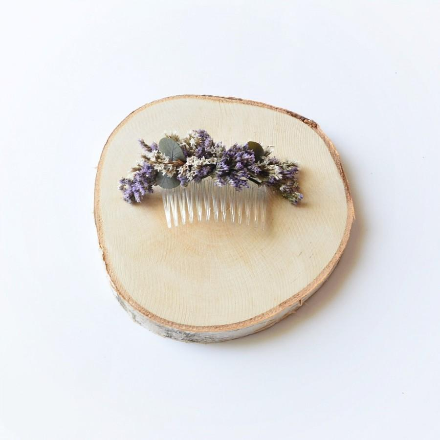 Hochzeit - Dried flowers hair comb rustic hairpiece garden wedding natural boho floral comb bridal flower hair comb wedding accessory