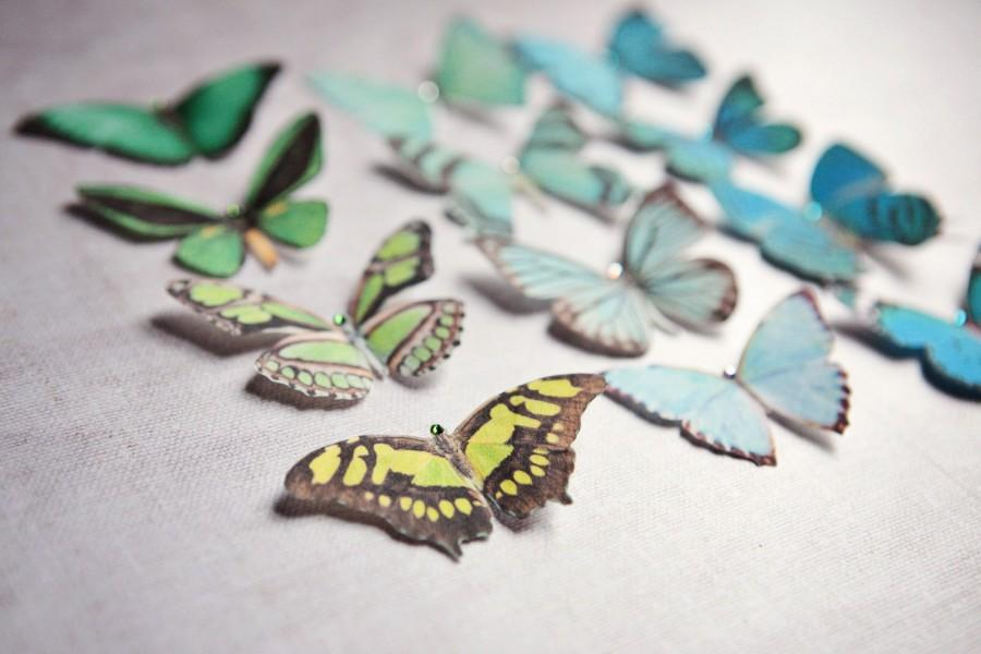Hochzeit - Handmade silk butterfly hair clips in pretty shades of Teal and Green. Choose your own mix, 100 to select from!