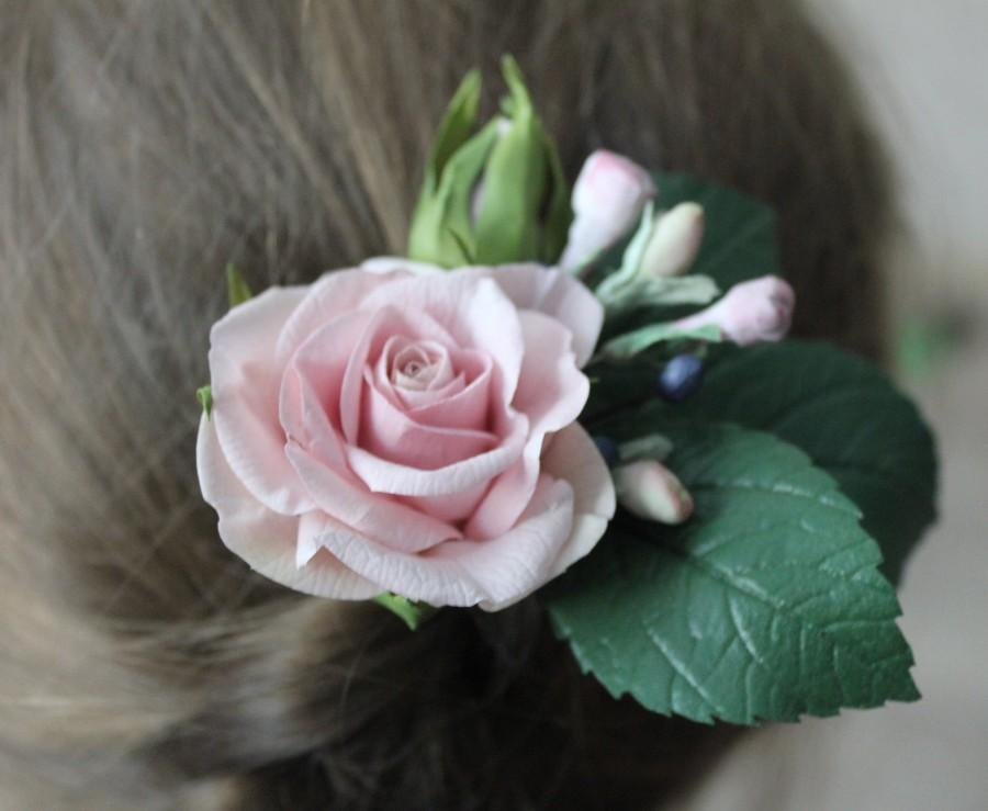 Hochzeit - Blush Flower hair pins, Bridal flower hair clip, Wedding flower hair piece