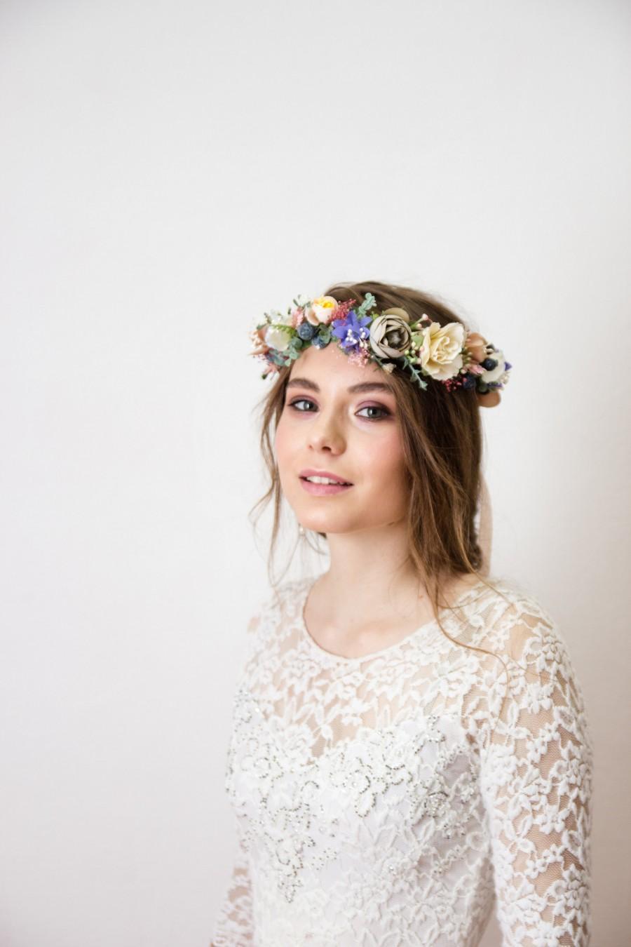 Hochzeit - Wedding Flower Crown, woodland flower halo, flower headpiece, boho flower crown, blush flower crown, greenery crown, flower head piece 1176