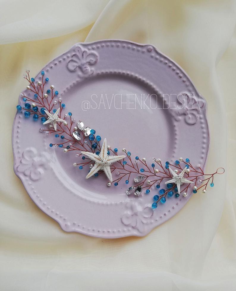 Wedding - Blue Starfish crown