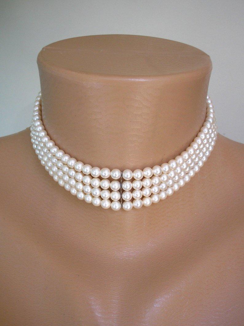 Hochzeit - Lotus Pearl Choker, Bridal Pearls, Lotus Royale, Vintage Pearl Choker, 4 Strand Choker Necklace, Vintage Pearls, Ivory Pearls, Great Gatsby