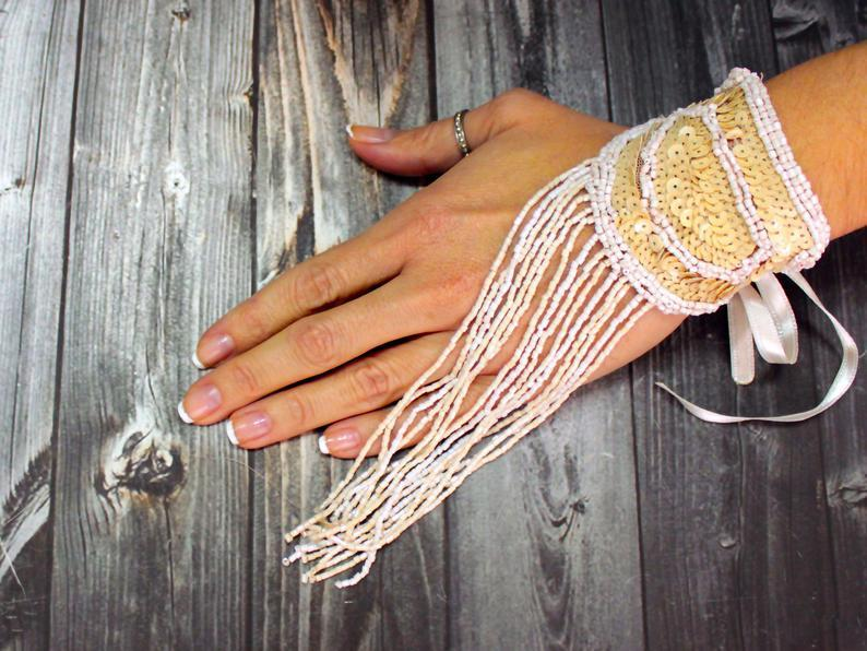 Mariage - Bead Embroidered Tassel Bracelet Statement Cuff Belly Dance Fringe Bracelet Wedding Accessory ooak Fringe Gloves Rustic Wedding Unique Gift