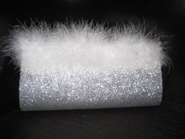 Mariage - Bride Wedding Silver Glitter Medium Clutch Purse Handbag- 3 Handle Choices- White Feather Wisp Embellishment- Formal- Prom- Bridesmaid