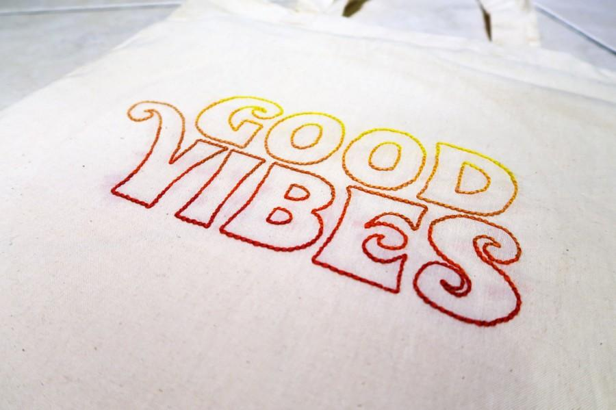 Mariage - Good Vibes Retro Hand Embroidered Tote Bag