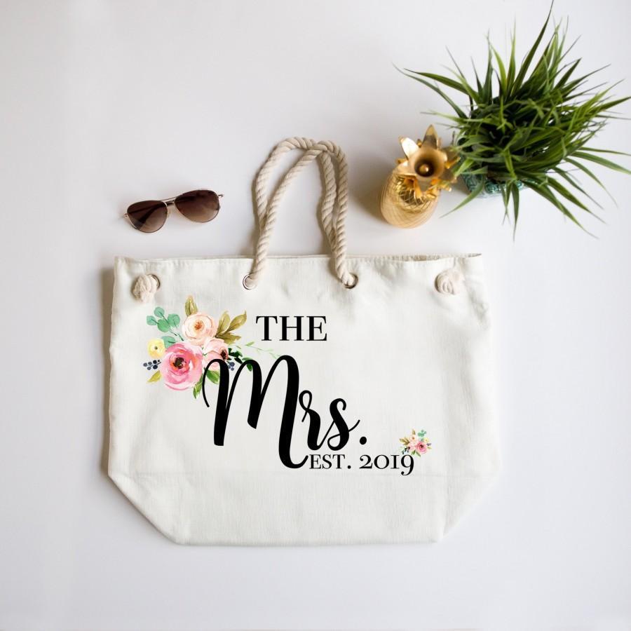 Mariage - The Mrs Beach Bag, Just Married Beach Bag, Beach Tote, Large Beach Bag, Bride Beach Bag, Honeymoon Beach Bag, The Mrs Est Year Beach Bag