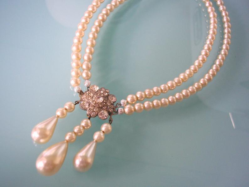 Wedding - Vintage Pearls, Vintage Pearl Necklace, Pearl Choker, Bridal Pearls, Cream Pearls, Edwardian Style, 2 Strand Pearls, Wedding Pearls
