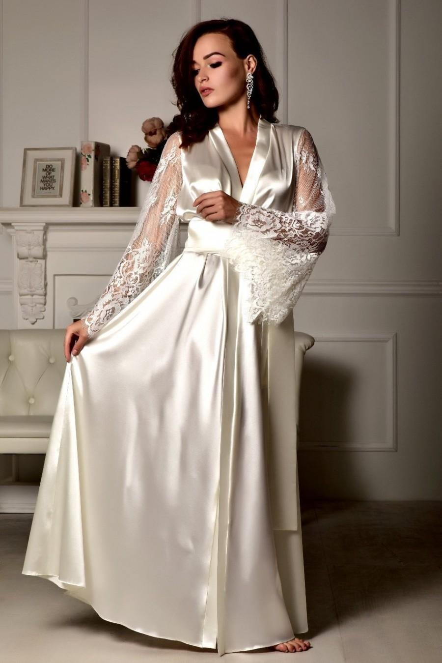 Mariage - Long lace bridal robe Wedding kimono Long bridal robe Kimono robe Bridal dressing gown Maxi robe Kimono long Bride robe Bridal kimono