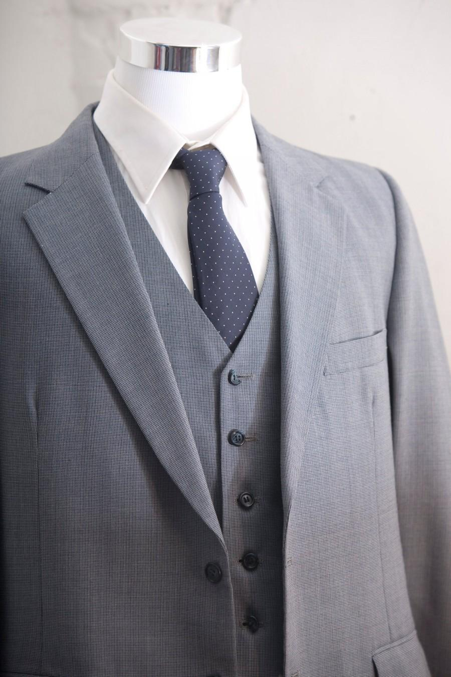 Свадьба - Men's Suit / Blue  Gray Vintage Suit,  Blazer, Vest, Trousers / Three Piece Wool Suit Large Size 42