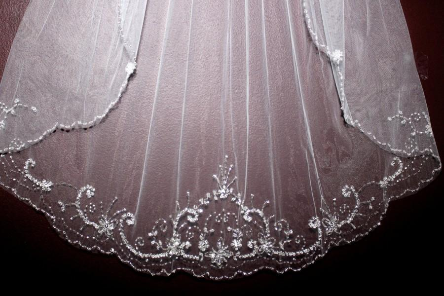 Mariage - chapel veil, chapel length veil, cathedral chapel bridal veil, beaded wedding veil, crystal veils