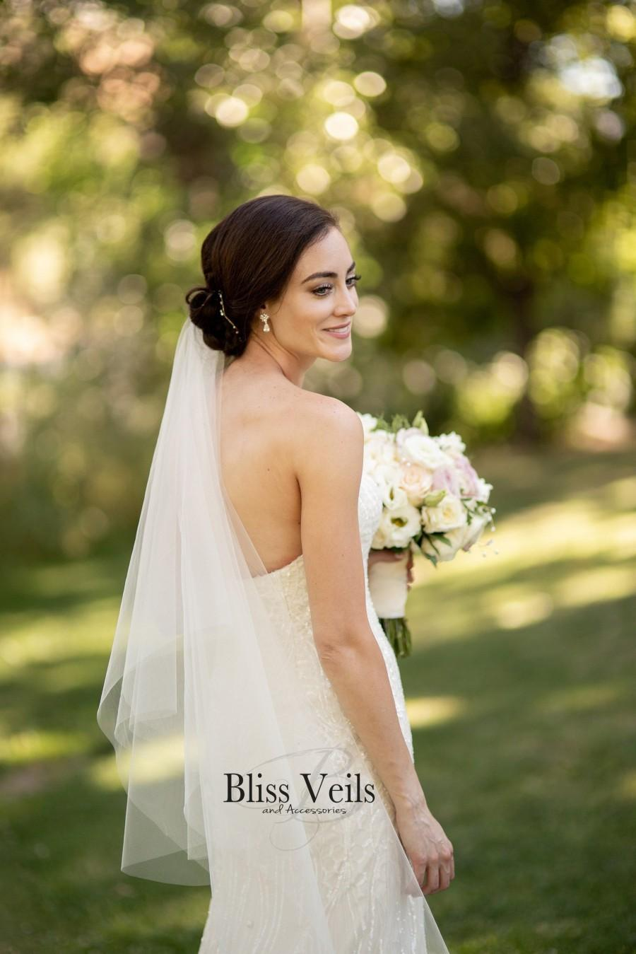 Mariage - Soft 2 Tier Drop Wedding Veil with Blusher - Available in 9 Lengths and 10 Colors!  Fast Shipping!