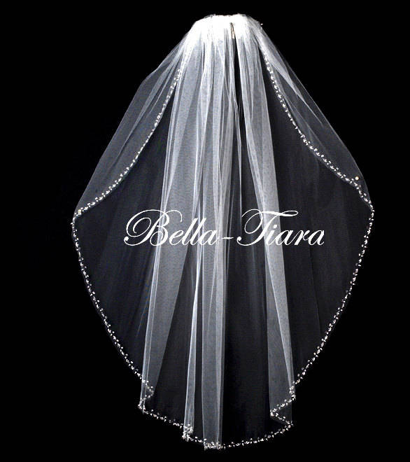 Mariage - cathedral beaded wedding veil,  cathedral beaded edge veil, chapel beaded veil, cathedral crystal pearl edge veil