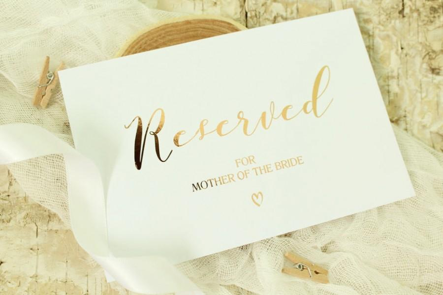 Wedding - Personalised Wedding Reserved Sign Calligraphy Style in Gold/Silver/Rose Gold/Champagne Gold/Colour Foils