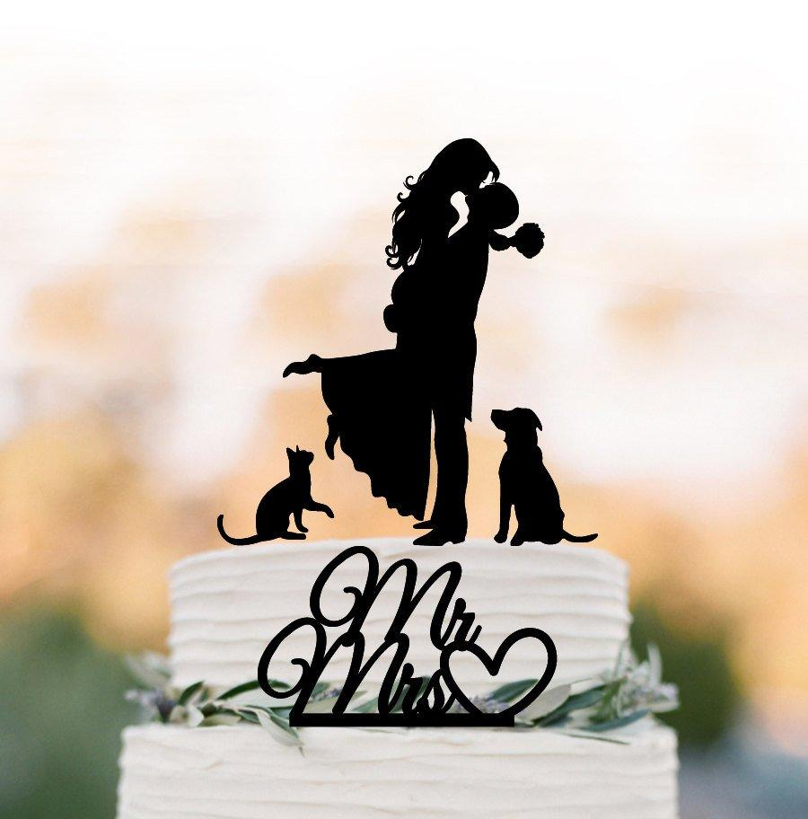 زفاف - Wedding Cake topper with dog and cat, silhouette wedding cake toppers, two tier wedding cake toppers with pets mr and mrs cake topper