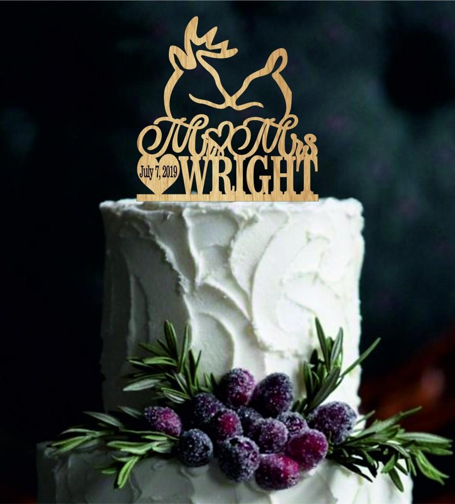 Свадьба - Buck and Doe Wedding Cake Topper, Deer Wedding Cake Topper, Personalized Cake Topper, rustic Cake Topper, Custom Cake Topper, Country Topper
