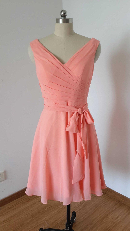 زفاف - V-Back Light Watermelon Chiffon Short Bridesmaid Dress with Unattached Sash