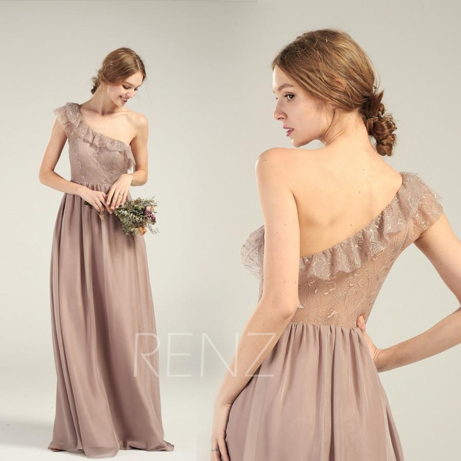 6f664fe3226 Bridesmaid Dress Rose Gray Chiffon Ruffle One Shoulder Wedding Dress  Illusion Lace Back Prom Dress Sweetheart A-line Long Formal Dress(H717)