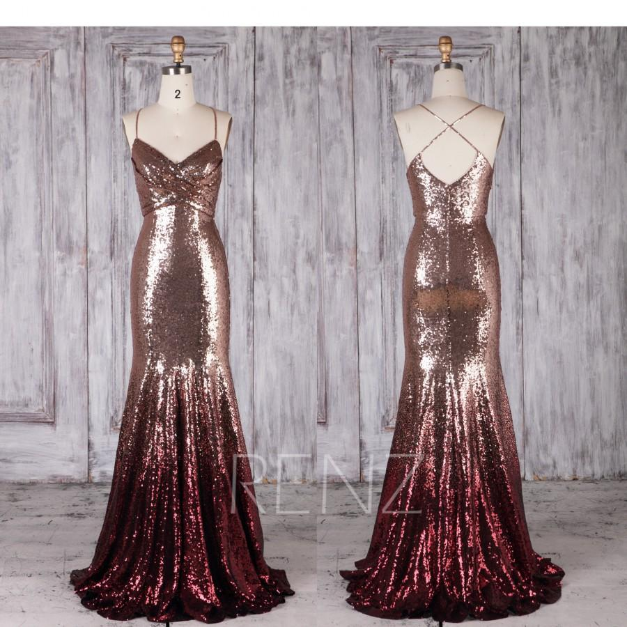 Mariage - Bridesmaid Dress Rose Gold & Wine Ombre Sequin Dress,Wedding Dress,Long Spaghetti Strap Prom Dress,Ruched V Neck Bodycon Party Dress(HQ697)