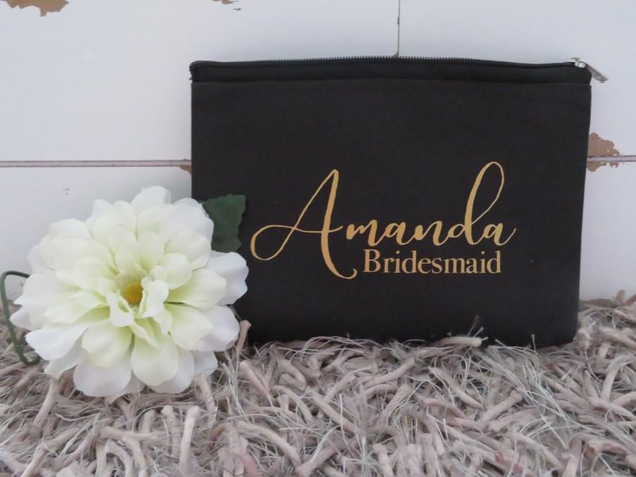 Mariage - Bridesmaid Makeup bag personalized makeup case custom cosmetic bag beauty bag bridesmaid make up bag travel bag canvas makeup bag