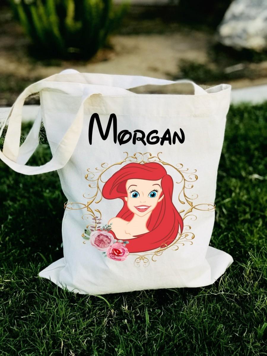 Hochzeit - Disney princess tote bag, Disney princess bridesmaid tote bag, Disney bride tote bag, personalized disney princess tote bag, Ariel tote bag