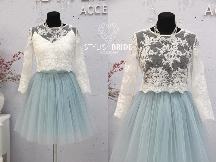 Wedding - Short Dusty Blue Belle Dress Tulle Set Lace Crop Top with Sleeves and Tulle skirt long, Short version prom lace dress