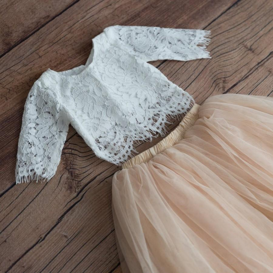 Свадьба - Bohemian Champagne Tulle Two Piece Tutu Skirt, White Lace Flower Girl Dress, Crochet Fairy Boho Beach Wedding Princess dress, Proposal