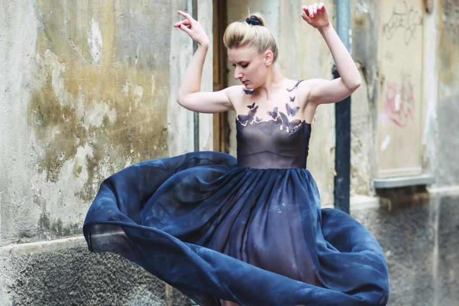 Свадьба - Butterfly blue dress, Alternative wedding dress, Elegant evening dress, Haute couture, Black silk dress, tailored bohemian dress, bridesmaid